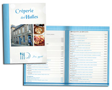 Menu brochure 8 pages pour creperie restaurant par Reflet d'Expression